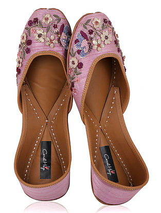 Red Zardozi Embroidered Dupion Silk Juttis with Applique Work