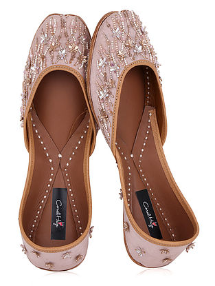 Maroon Sequins and Bead Embellished Dupion Silk Juttis