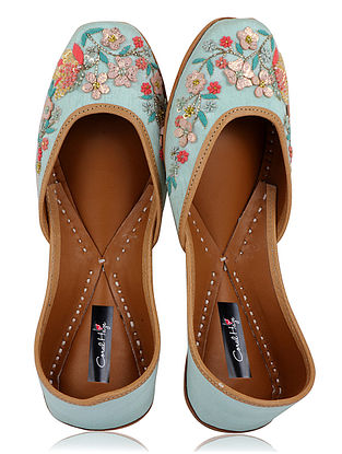 Blue Hand-Embroidered Silk and Leather Juttis with Applique work