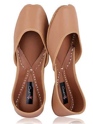 Beige Handcrafted Leather Juttis