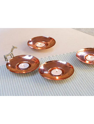 Circle of Light Copper Tealight Holder (Dia- 4.5in, H- 1in)