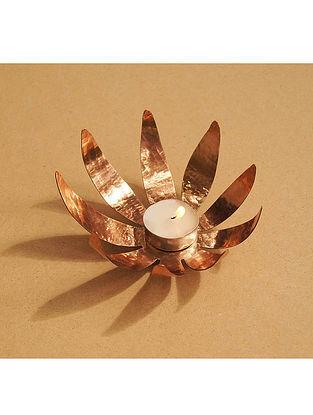 Sunflower Copper Tealight Holder (Dia- 5in, H- 3in)