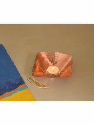 Foliole Copper Tealight Holder (Dia- 5.5in, H- 1.5in)