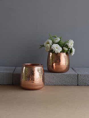 Viola Copper Vase (Dia- 3.7in, H- 3.6in)