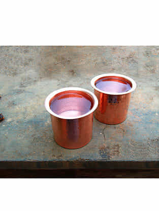 Copper Linear Tumblers (Set of 2) (Dia- 3.25in, H- 2.75in)