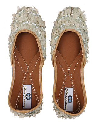 Beige Handcrafted Silk and Leather Juttis