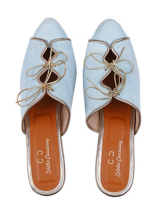 Blue Handcrafted Silk and Leather Heels