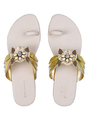 White-Golden Handcrafted Silk and Leather Flats