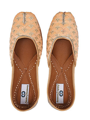 Peach-Golden Handcrafted Silk and Leather Jutti