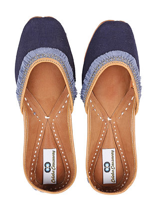 Navy Blue Handcrafted Linen and Leather Juttis