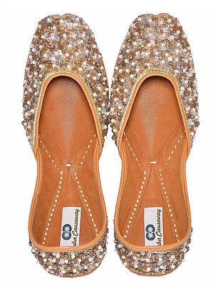 Silver Sequins Embroidered Silk and Leather Juttis with Embellishments