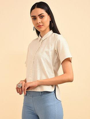 White Stone Block Printed Handspun Cotton Shirt