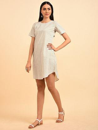 Fiesta Blue Block Printed Handspun Cotton Dress