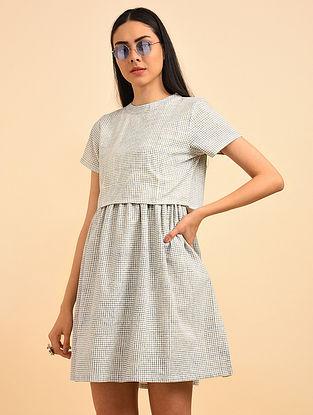 Night Sea Block Printed Handspun Cotton Dress with Jacket (Set of 2)