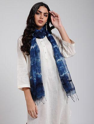 Blue-Ivory Shibori-dyed Silk Stole