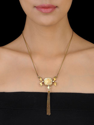Classic Coin Gold Tone Brass Necklace