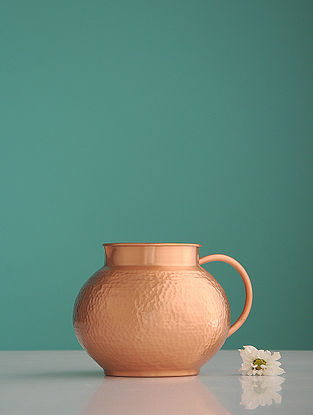 Jaipuri Matki Golden Copper Jug with Glass (Set of 2)