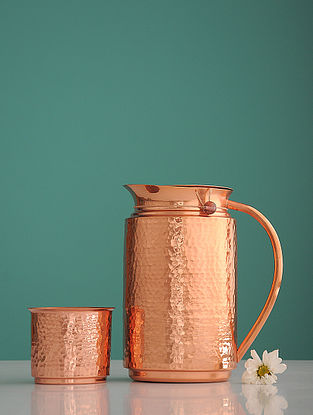 Jaipuri Surabhi Golden Copper Jug with Glass (Set of 2)
