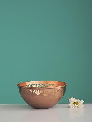 Jaipuri Sirohi Golden Copper Serving Bowl (L:5in, W:5in, H:0.102in)