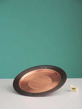 Jaipuri Sirohi Golden Copper Platter (L:8.2in, W:8.2in, H:0.27in)