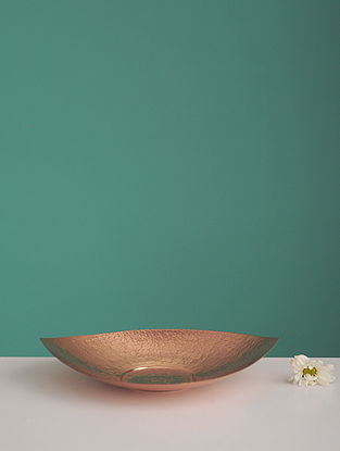 Shiva Pipal Golden Copper Platter (L:8.2in, W:8.2in, H:0.14in)