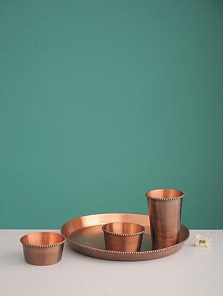 Shiva Pipal Golden Copper Dinner Set (Set of 4)