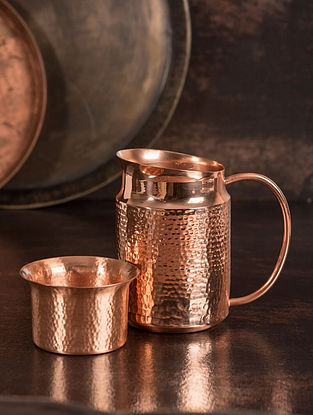 Jaipuri Handcrafted Copper Surahi Jug with Glass (Set of 2) (L:5.1in, W:3.5in, H:5.1in)