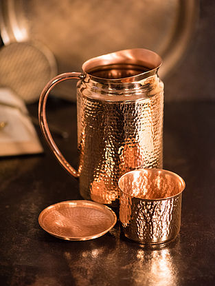 Jaipuri Handcrafted Copper Surahi Jug with Glass (Set of 2) (L:5.9in, W:4.3in, H:7.5in)