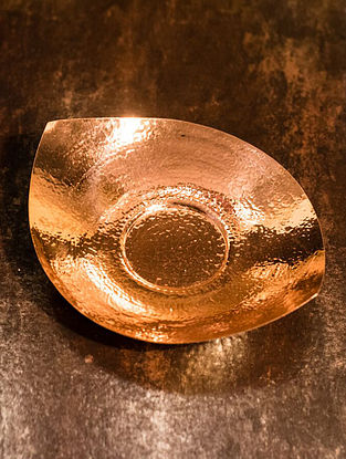 Shiva Handcrafted Copper Pipal Platter (L:8.5in, W:7.1in, H:1.8in)
