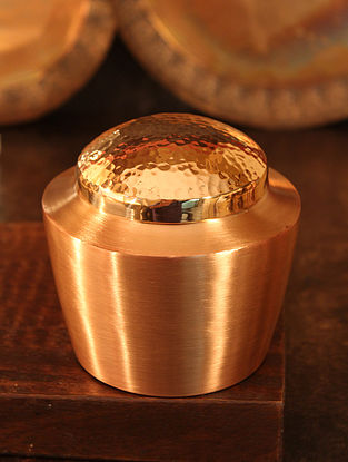Jaipuri Handcrafted Copper Spice Container (Dia:3.7in, H:3.3in)