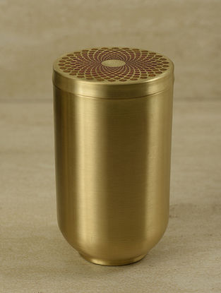 Ganga Auroville Handcrafted Brass Jar with Lid (L:3.5in, W:3.5in, H:6.5in)