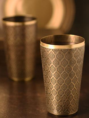 Phulkari Handcrafted Brass Glass (L:4in, W:4in, H:6in)
