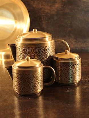 Phulkari Handcrafted Brass Tea Set (Set of 3) (L:6.7in, W:3.9in, H:5.3in)