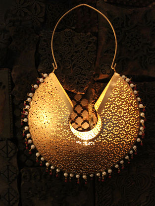 Jhumka Handcrafted Iron Hanging T Light Holder (L:9in, W:2.7in, H:12.9in)
