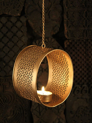 Gokul Handcrafted Iron Hanging Tea Light Holder (L:3.9in, W:3.1in, H:4.7in)