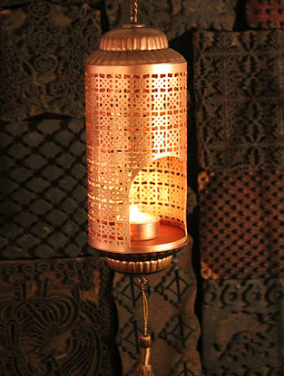 Amba Handcrafted Iron Hanging Tea Light Holder (L:3.5in, W:3.5in, H:9.8in)