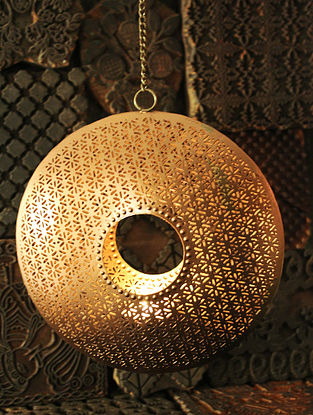 Sitara Ring Handcrafted Iron Hanging Tea Light Holder (L:6.6in, W:6.6in, H:1.5in)
