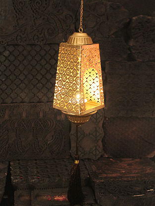 Phulkari Handcrafted Iron Hanging Tea Light Holder (L:2.7in, W:2.7in, H:8.2in)