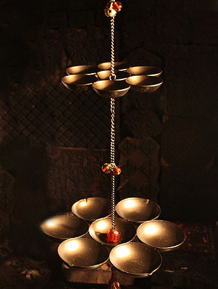 Arvind Handcrafted Iron Hanging Tea Light Holder (L:3.7in, W:3.7in, H:5.7in)