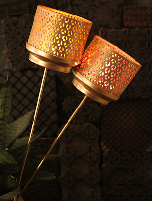 Bindi Garden Mashal Handcrafted Glass and Iron Wall Tea Light Holder (Set of 2) (Dia:3.3in,H:19.2in)