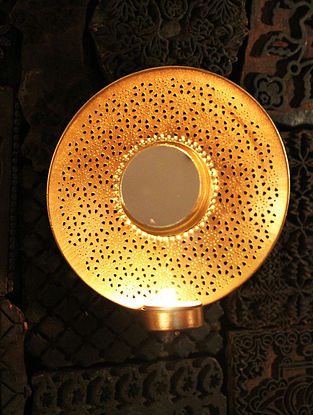 Ashoka Wall Handcrafted Iron and Glass Tea Light Holder (L:6.6in, W:6.6in, H:6.6in)