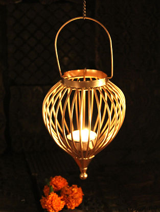Boond Handcrafted Iron Hanging Tea Light Holder (L:4.3in, W:4.3in, H:9in)