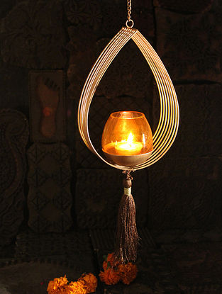 Namo Handcrafted Iron Hanging Tea Light Holder (L:5.5in, W:2.3in, H:8.2in)