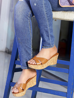 Tan Cork Wedges