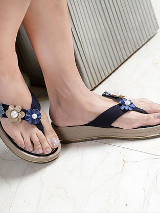 Navy Blue Handcrafted Wedges with Embellishments