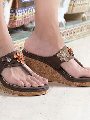 Brown Handcrafted Wedges with Embellishments