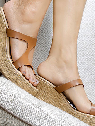 Tan Handcrafted Wedges