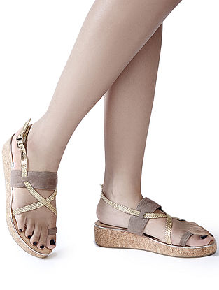 Beige-Golden Handcrafted Wedges
