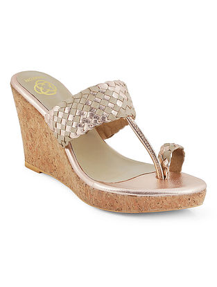 Rose Gold Braided Cork Wedges