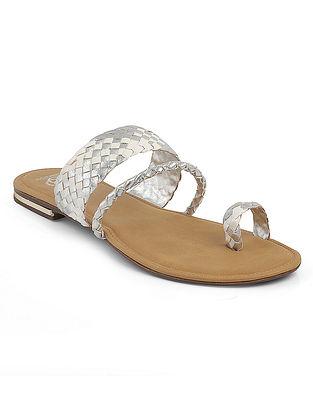 Silver Braided Flats